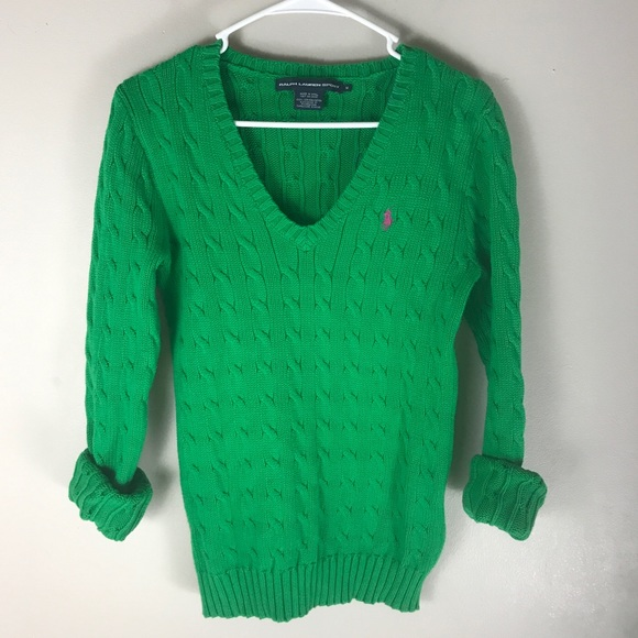 Ralph Lauren sport green v neck cable knit sweater.  M 5c564a54c9bf5025eb38b8d6 882b9ca68